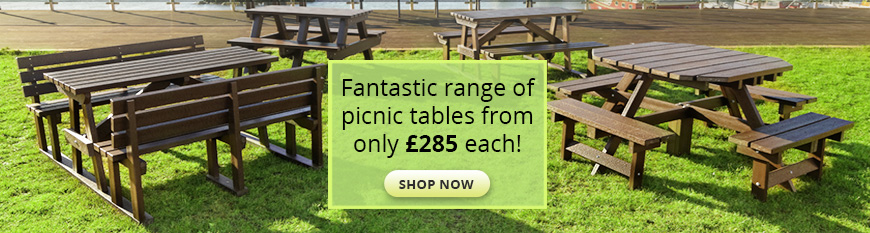100% recycled plastic picnic tables
