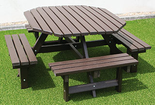 Recycled plastic garden furniture